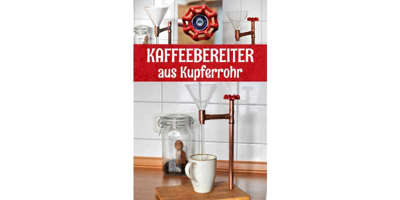 Pour Over Kaffeebereiter aus Kupfer im Retro- / Industrial Stil - Kaffeebereiter aus Kupferrohr für Kaffeefreunde der Pour Over Methode
