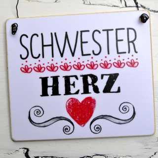 dekoratives Holzschild SCHWESTERHERZ