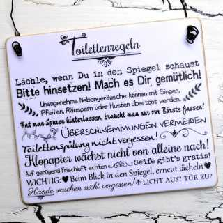 Schild Holzschild TOILETTENREGELN
