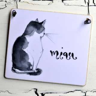 dekoratives Holzschild mit Katzenmotiv MIAU