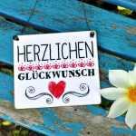 Schild aus Holz HERZLICHEN GLÜCKWUNSCH