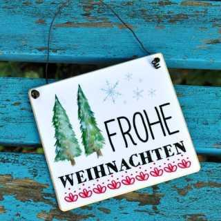 Holzschild FROHE WEIHNACHTEN