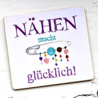 Magnet mit lustigem Spruch NÄHEN macht GLÜCKLICH!