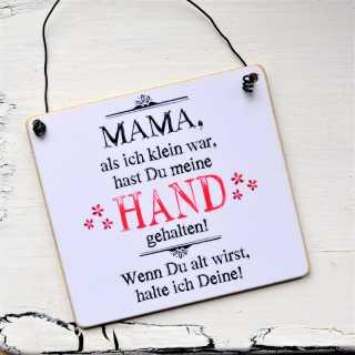 Schild aus Holz MAMA Hände halten Muttertagsgeschenk