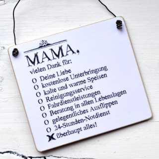 Schild aus Holz MAMA vielen Dank für überhaupt alles!