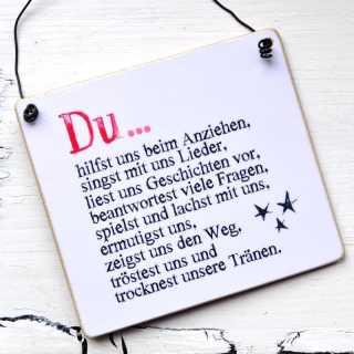 Schild aus Holz DU LIEBST MICH Dankeschön an Erzieher/innen