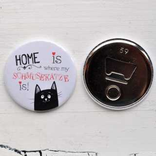Button Magnetflaschenöffner HOME is where my SCHMUSEKATZE is