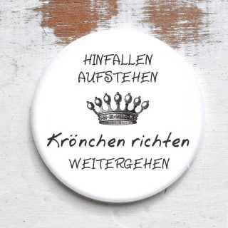 Button Magnet / Flaschenöffner / Spiegel Krönchen richten rund 59 mm