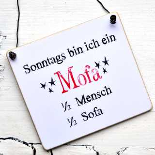 Schild MOFA halb Mensch halb Sofa