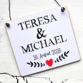 Hochzeitsschild mit WUNSCHNAMEN + Hochzeitsdatum