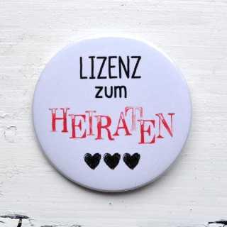 Button für JGA LIZENZ zum HEIRATEN