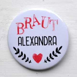 Button für JGA BRAUT + WUNSCHNAME