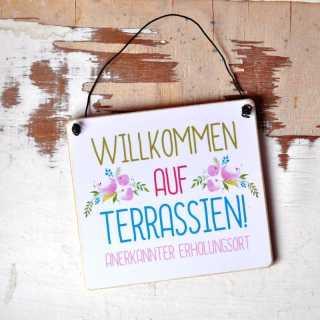 """Ib Laursen Metallschild /""""Willkommen/"""" Türschild Eingangsschild Willkommensschild"""