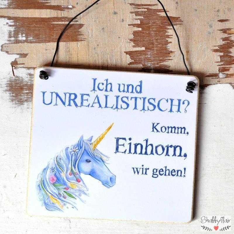 EINHORN-Schild Komm Einhorn, wir gehen 11 x 9,5 cm (S)
