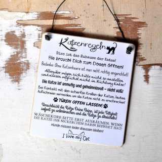 Schild aus Holz KATZENREGELN
