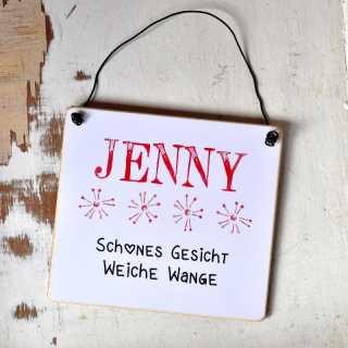 Schild aus Holz mit Wunschname und Bedeutung des Namens