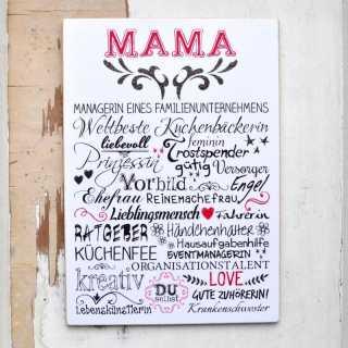 Vintage Schild MAMA Wortcollage für Mütter