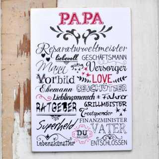 Vintage Schild PAPA Wortcollage für Väter