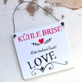 Schild KÜHLE BRISE für Körbchen mit Fächern an Hochzeiten