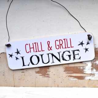 längliches Schild Chill & Grill Lounge Herren Geschenkidee
