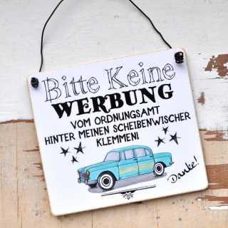 Schild fürs Auto KEINE WERBUNG vom ORDNUNGSAMT