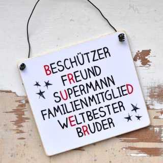 Schild BRUDER Beschützer Wortcollage