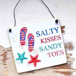 Urlaubsschild SALTY KISSES SANDY TOES 11 x 9,5 cm (S)