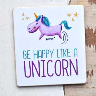 Magnet mit Spruch BE HAPPY like a UNICORN