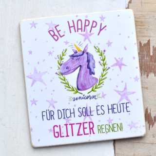 Magnet mit Spruch BE HAPPY - GLITZERREGEN