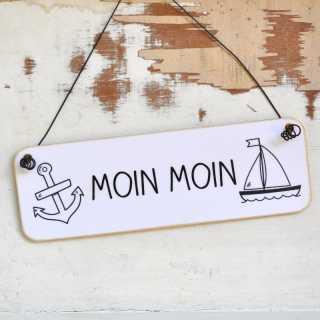 Maritimes Schild aus Holz MOIN MOIN schwarzweiß