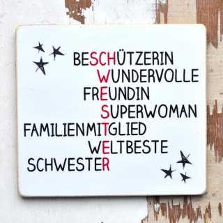 Magnet SCHWESTER Schild für weltbeste Schwestern