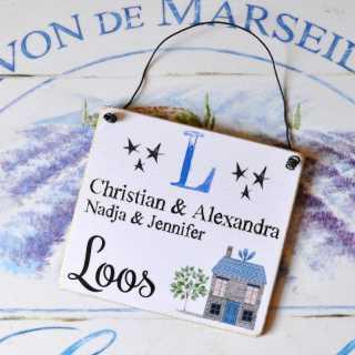 Namensschild für die Haustür mit FAMILIENNAME + INITIALE blue