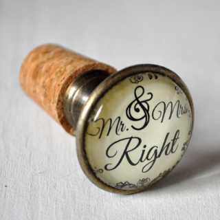 Flaschenkorken für Hochzeit MR & MRS RIGHT
