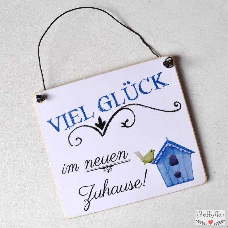 Schild Mit Spruch Viel Glück Im Neuen Zuhause