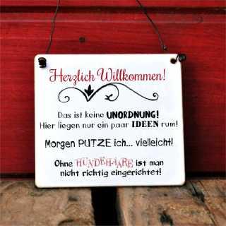 Schild zum Thema Putzen Unordnung und Hundehaare