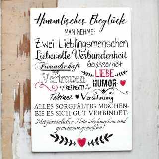 Hochzeitsschild HIMMLISCHES EHEGLÜCK