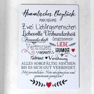 Hochzeitsschild aus Alu HIMMLISCHES EHEGLÜCK (wetterfest)