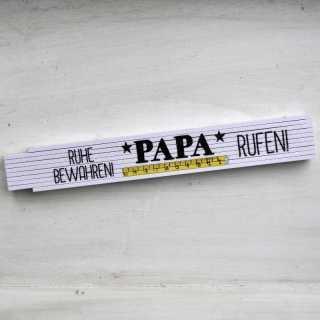 Zollstock mit Spruch RUHE bewahren und Papa rufen Herrengeschenkidee