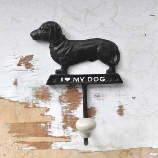 Landhaus Wandhaken I LOVE MY DOG  für die Leine 13,5x10 cm