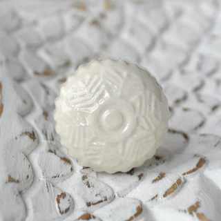 Keramik-Knauf Möbelknopf FLEURI creme (3,4 cm)