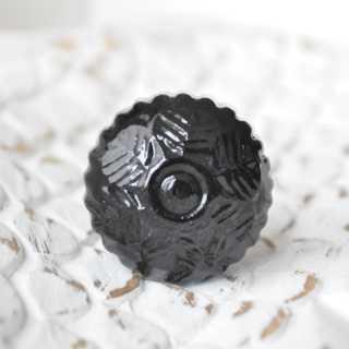 Keramik-Knauf Möbelknopf FLEURI schwarz (3,4 cm)