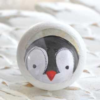 Kinder Möbelknopf PINGUIN aus Holz fürs Kinderzimmer weiß