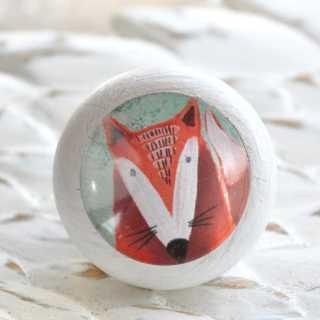 Möbelknopf für Kinder Wilder Fuchs weiß