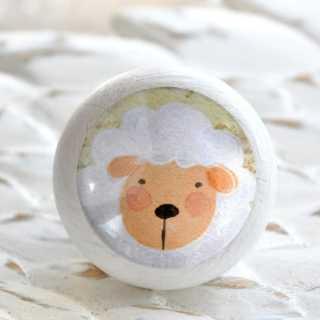 Tierknauf SCHAF aus Holz fürs Kinderzimmer weiß