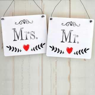 Hochzeitsschilder-Set Stuhldeko MR & MRS
