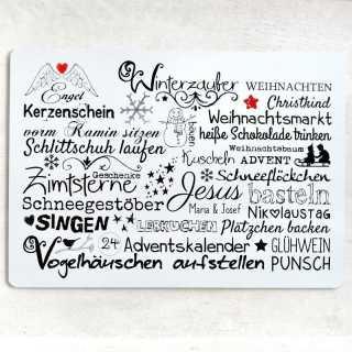 Wendeschild Herbstzauber und Winterzauber Wortcollage DINA3 Alu