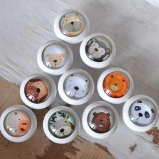 Kinder Möbelknäufe aus Holz Tierkinder 10er-Set