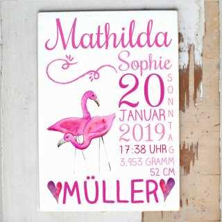 Geburtsschild mit Name und Geburtsdaten Flamingo