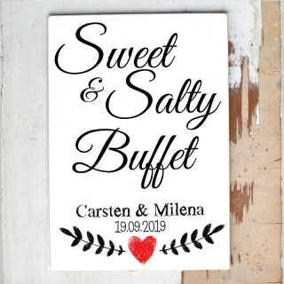 Hochzeitsschild Sweet & Salty Buffet personalisiert