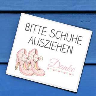 Schuhschild Bitte Schuhe ausziehen mit rosa Highheels